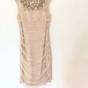 Bebe XS Bodycon Lace Blush colored dress